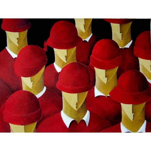 Cappelli rossi su camicie rosse
